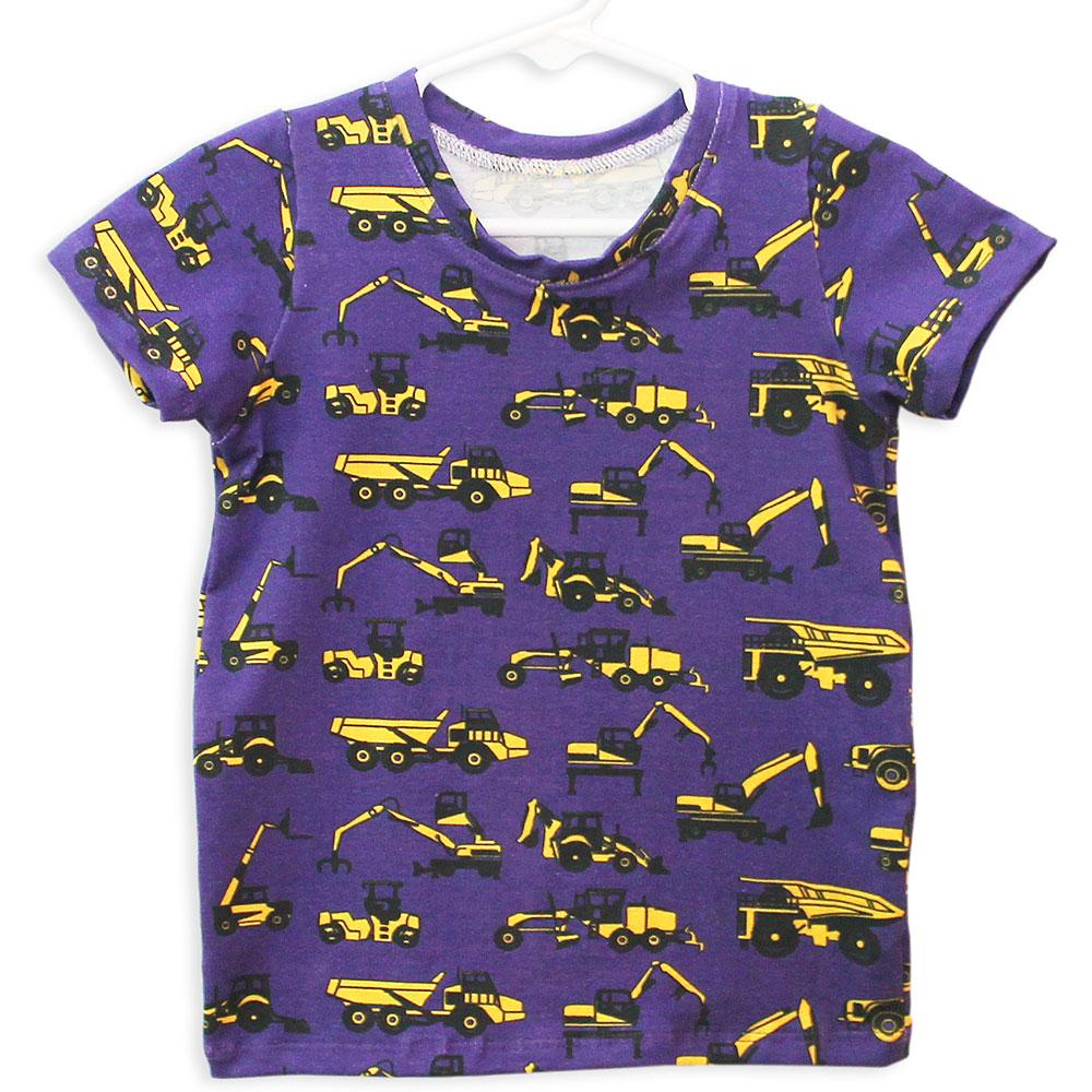 Purple Construction Trucks T-Shirt by Mitz Accessories