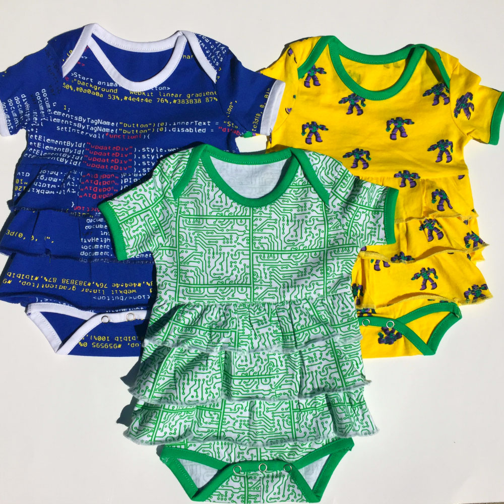 Short Circuits Ruffled Baby Bodysuit Bundle – Organic Cotton 3-Pack