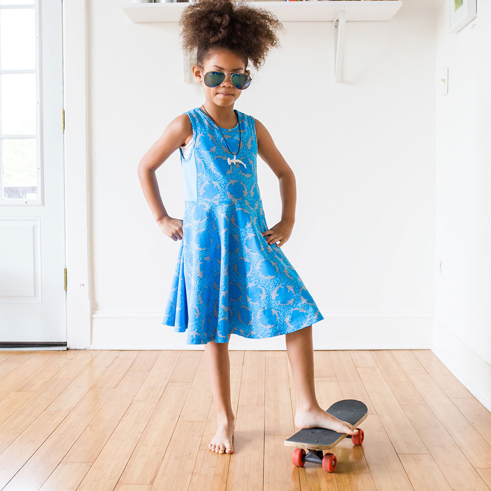"""Firecely Jaw-some"" Sharks Twirly Play Dress from Princess Awesome"