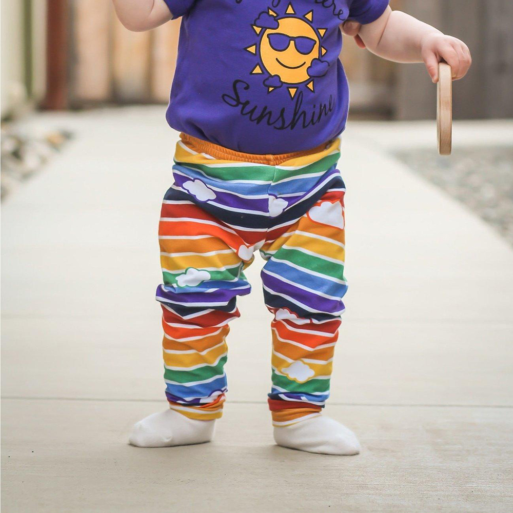 Retro Rainbow Leggings with Clouds by Mitz Accessories