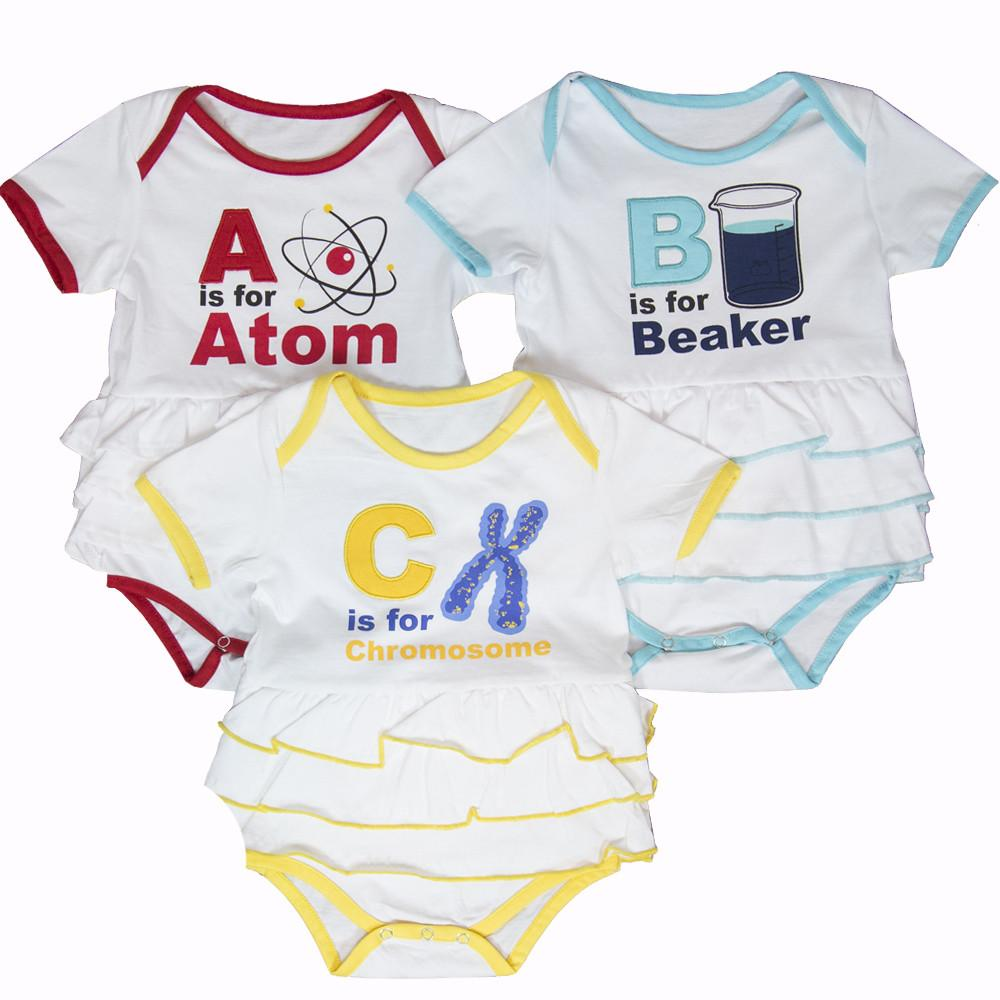 ABC's of Science Ruffled Baby Bodysuit Bundle – Organic Cotton 3-Pack