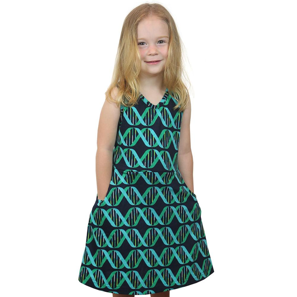 DNA Iconic Double Helix Stripes Fit & Flare Kids Dress