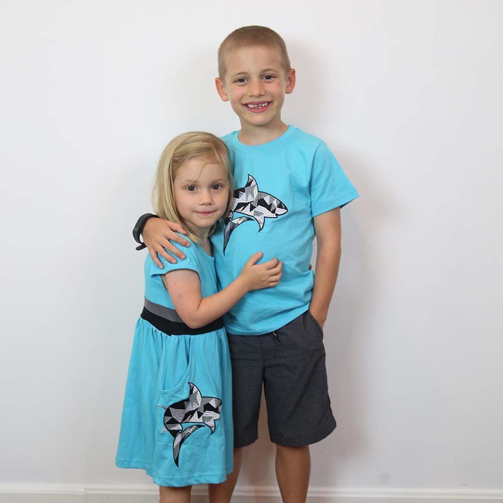 Geometric Shark Fit & Flare Kids Dress & Tee