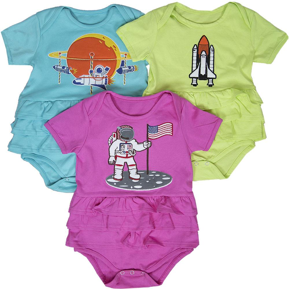 Budding Astronomer Ruffled Baby Bodysuit Bundle - Organic Cotton 3-Pack