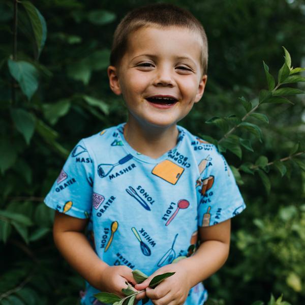 Blue Baking T-Shirt with Fun Educational Baking Utensils